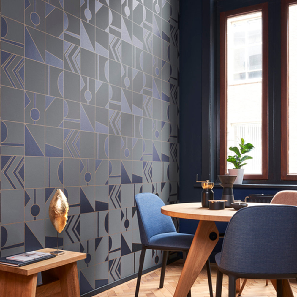 Hooked on Walls Groove Grey / Blue Wallpaper - Product code: 29043