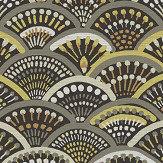 Arte Peacock Brown / Mustard Wallpaper