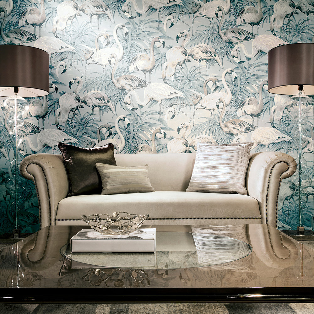 Flamingo Wallpaper - Light Blue - by Arte
