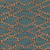 Jane Churchill Geometric Silk Teal Wallpaper - Product code: J8001-06