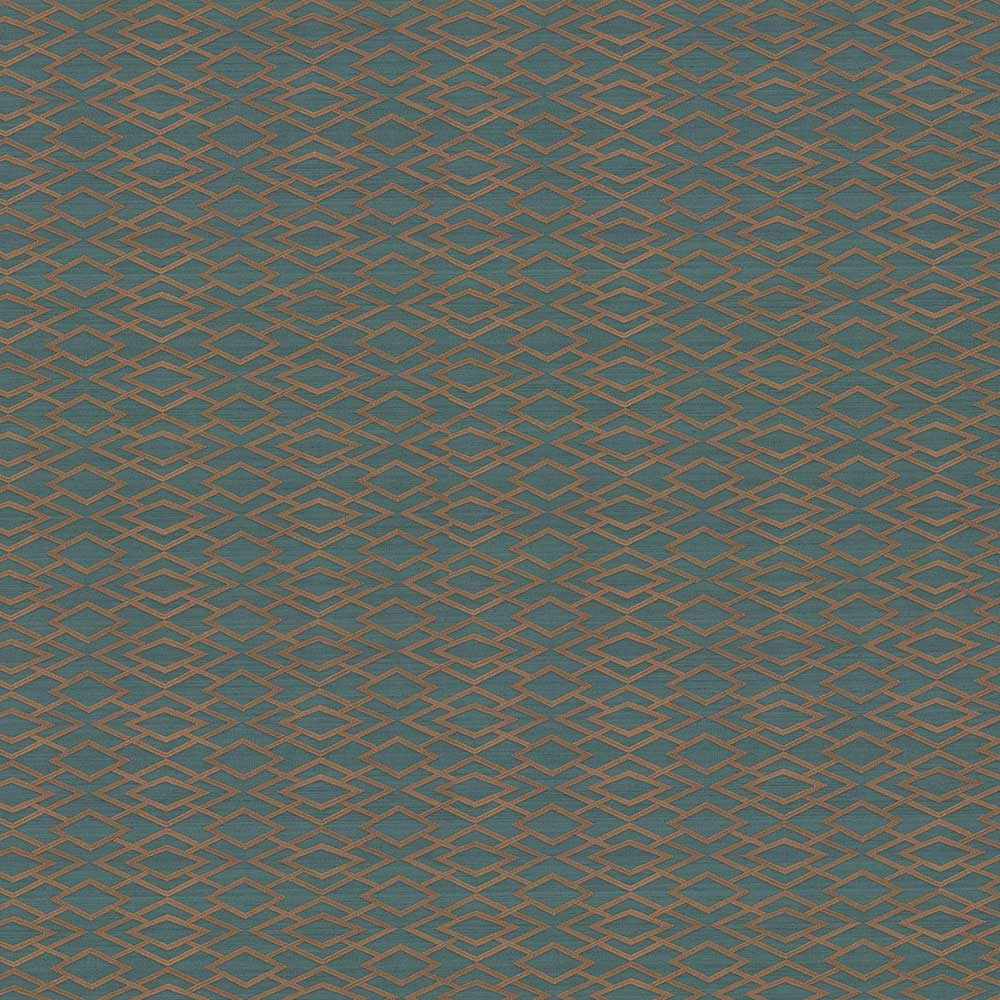Geometric Silk Wallpaper - Teal - by Jane Churchill