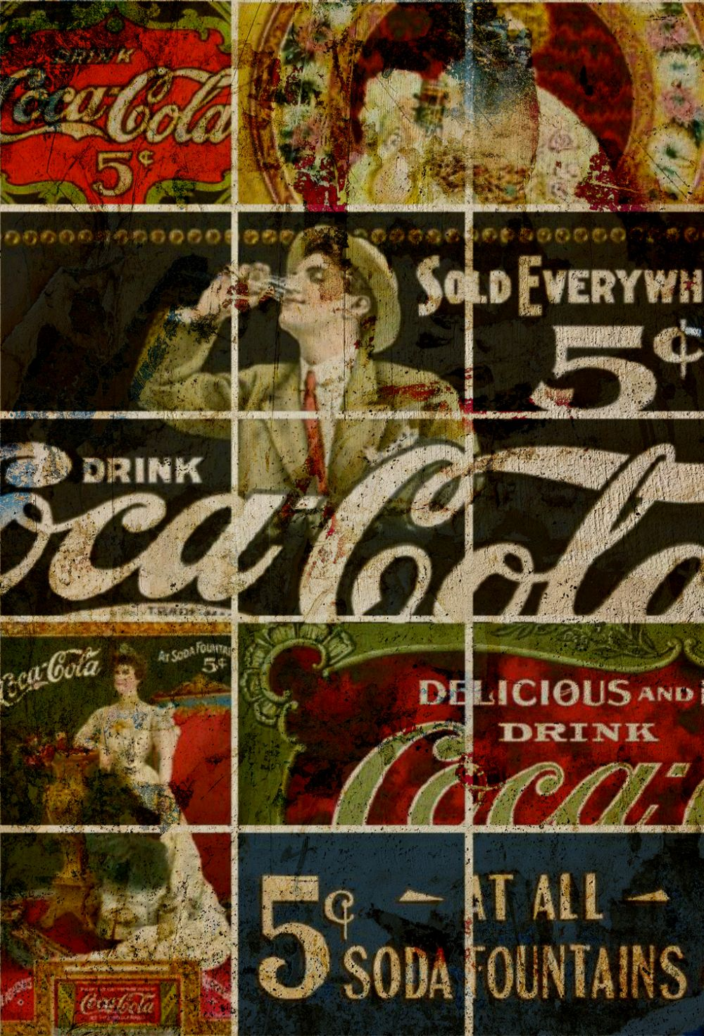 Distressed Vintage Mural - Multi - by Coca Cola