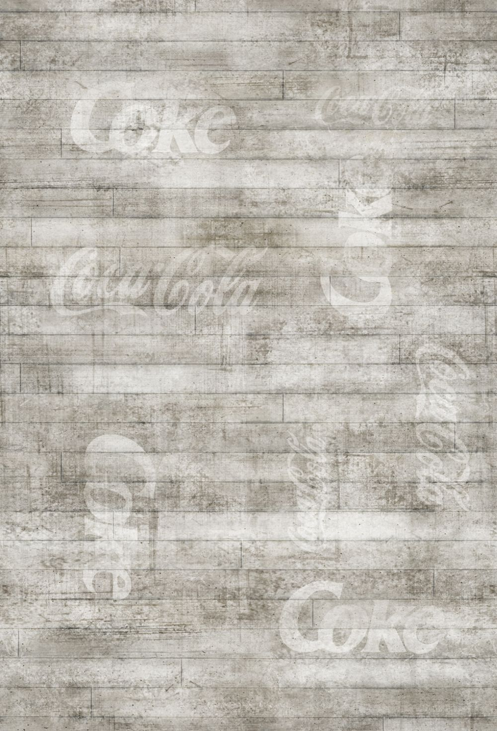 Coca Cola Branded Floorboard Grey Mural - Product code: 41291