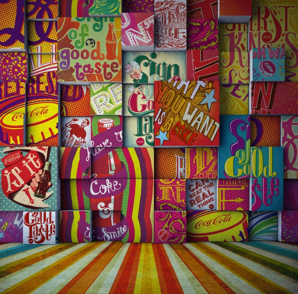 Vintage Pop Rev Mural - Multi - by Coca Cola