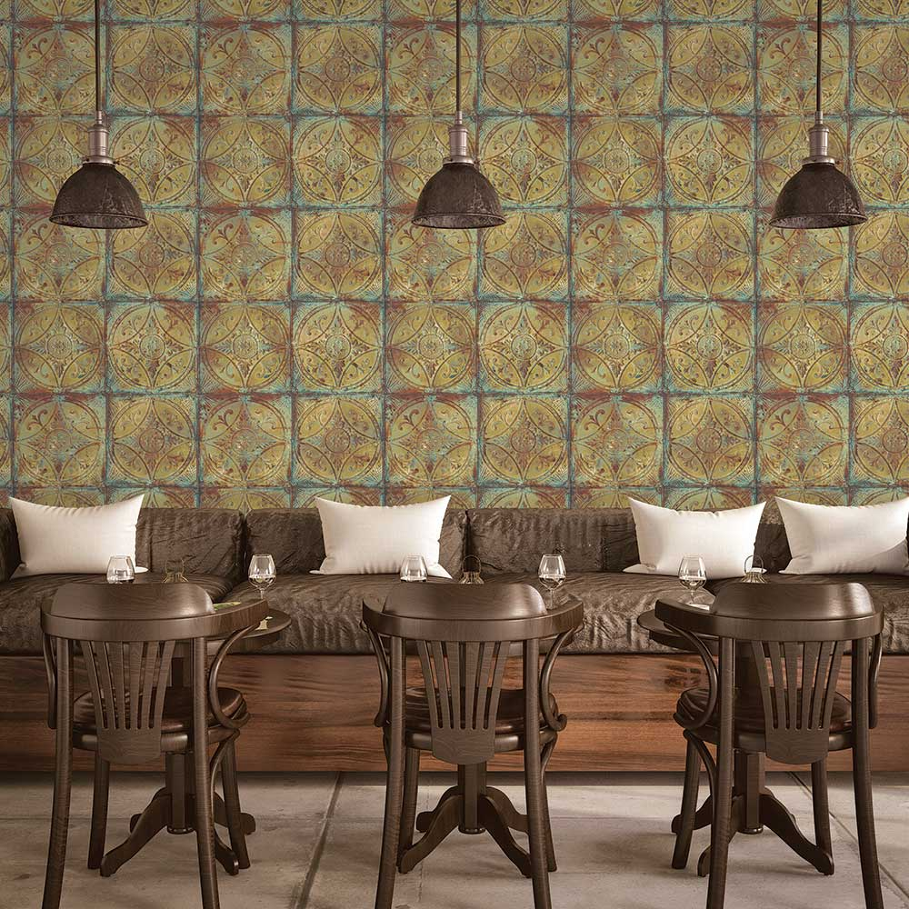 Galerie Tin Tile Gold Wallpaper - Product code: G45376