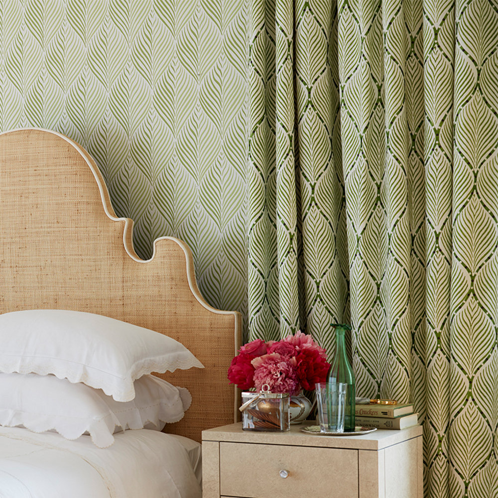 Bonnelles By Nina Campbell Green Fabric Wallpaper Direct