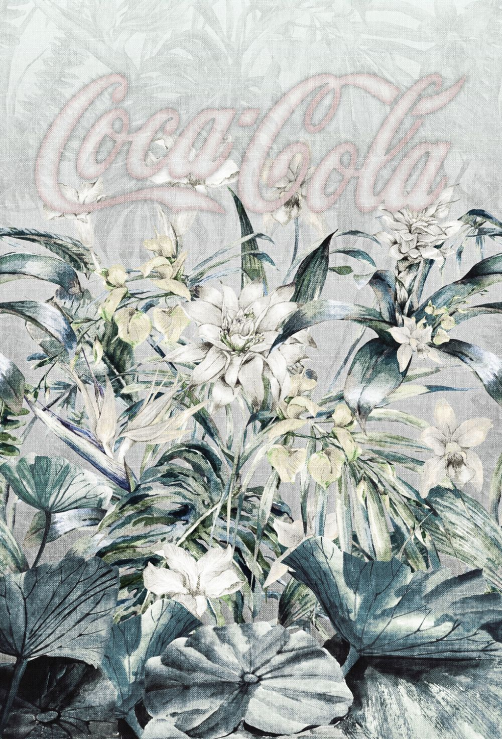 Coca Cola Tropical Faded Muted Greys Mural - Product code: 41284