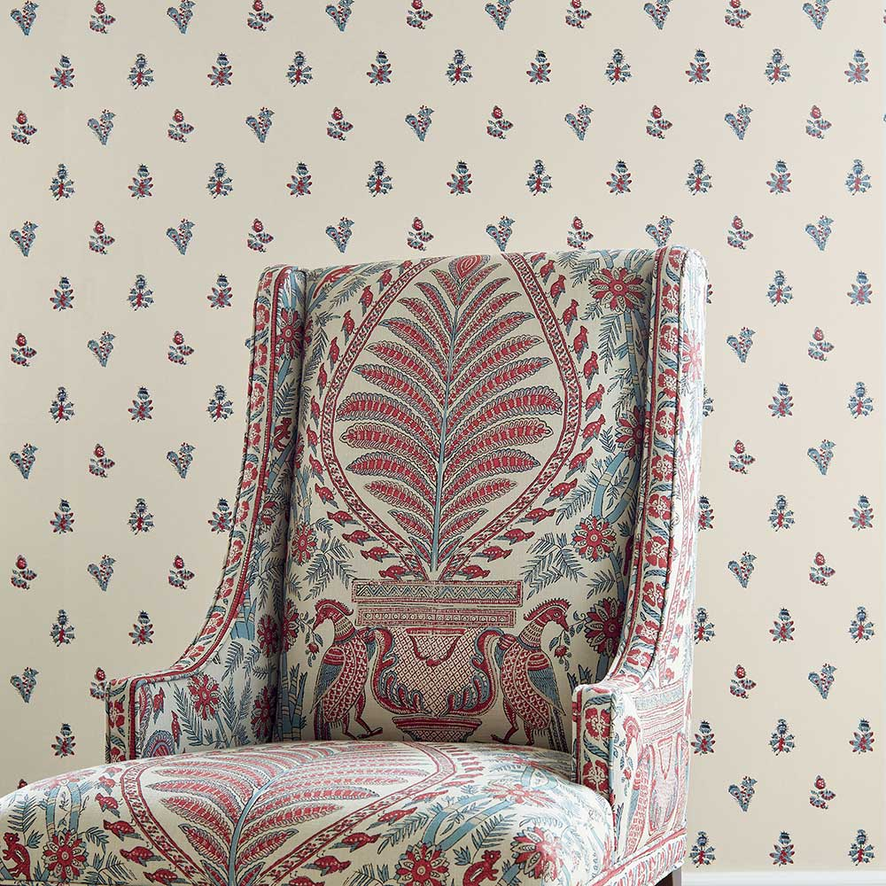 Jouy Wallpaper - Red / Blue - by Anna French