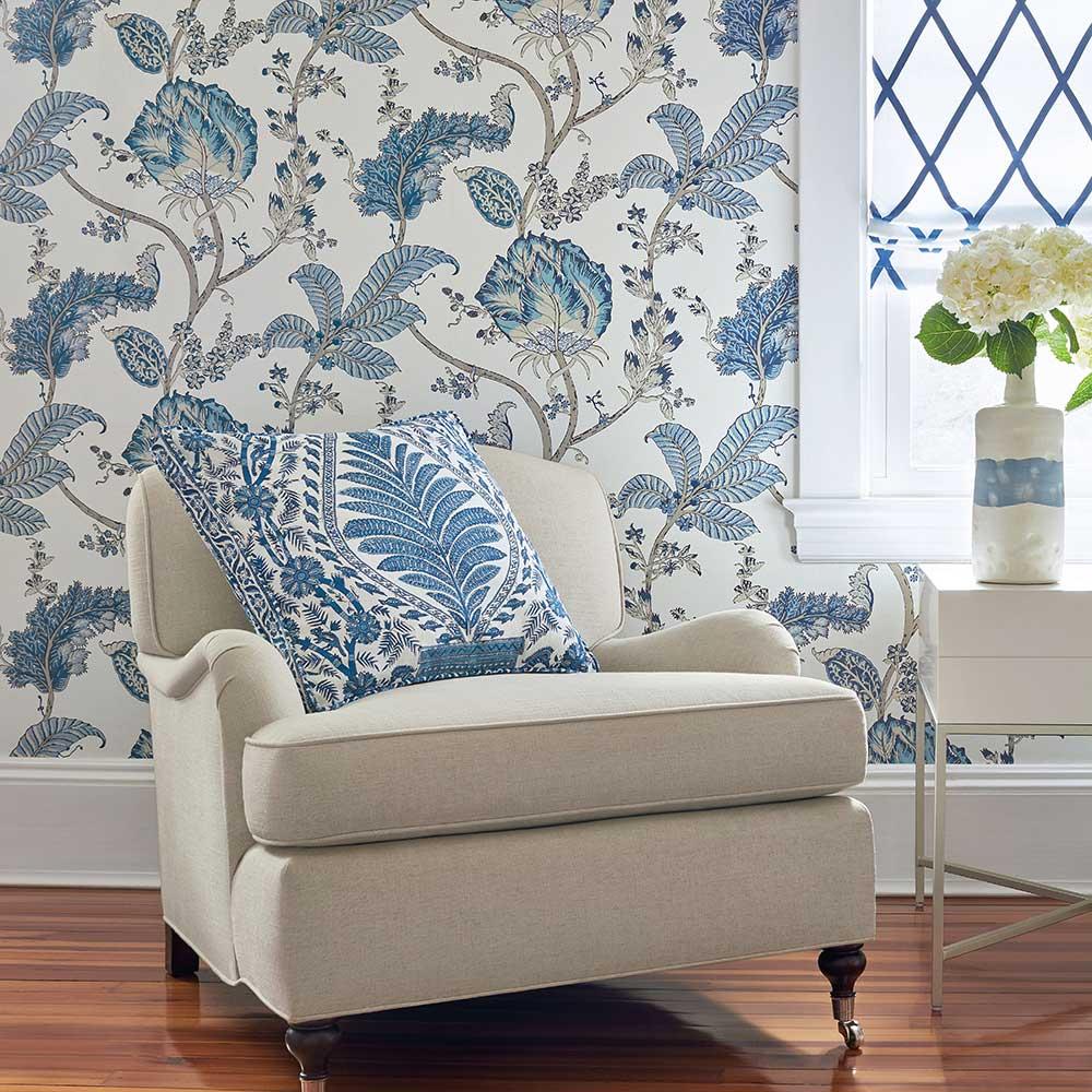 Kalamkari Vine Wallpaper - Blue - by Anna French