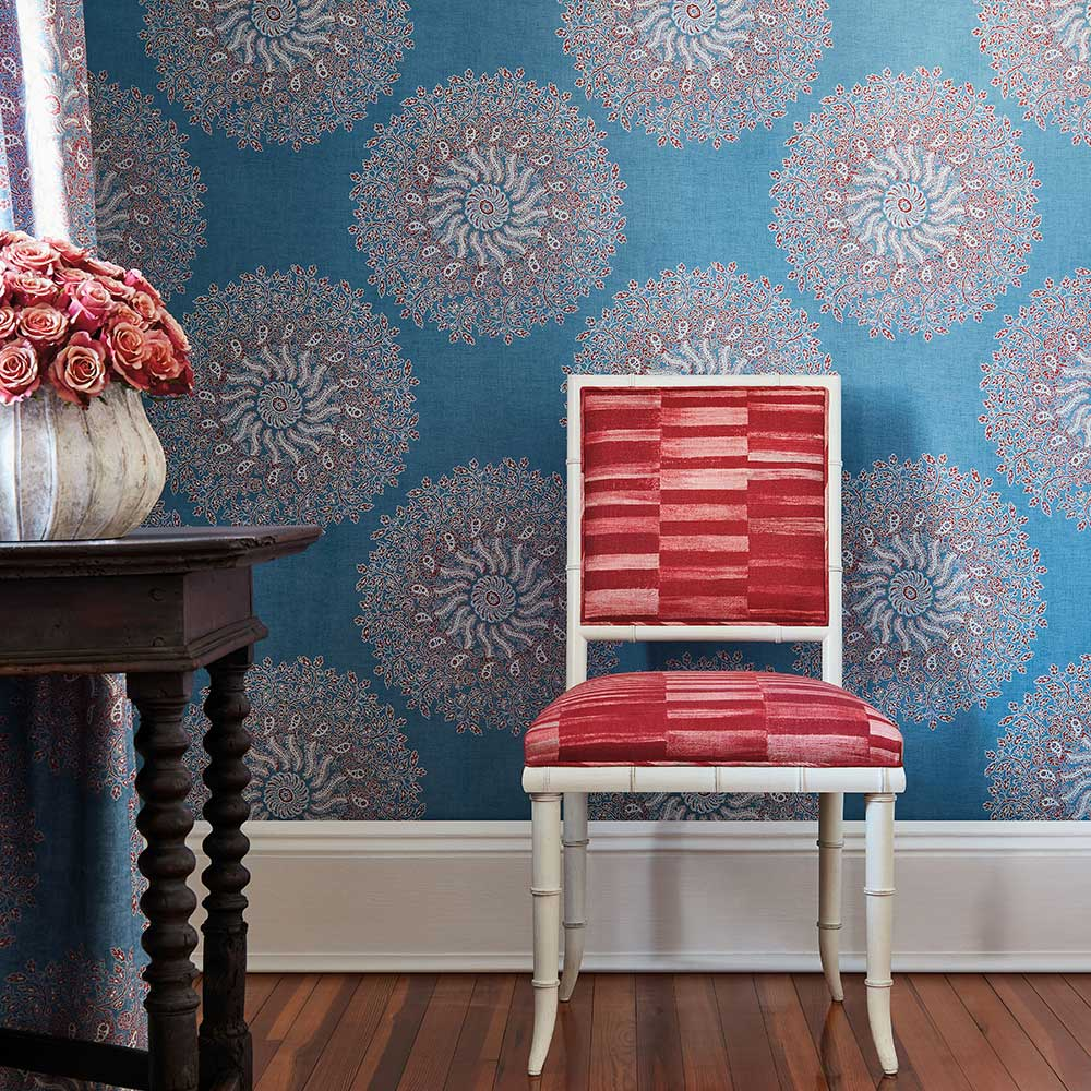 La Provence Wallpaper - Sky Blue - by Anna French