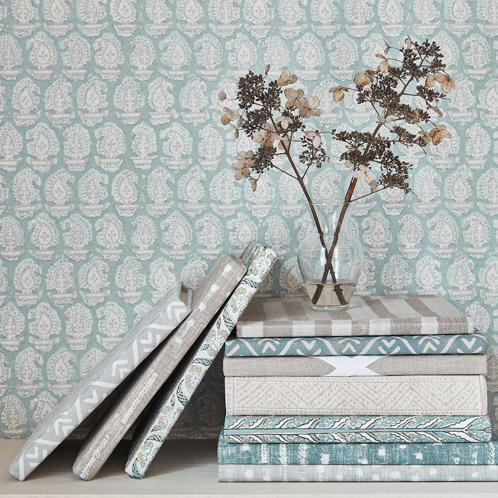 Gada Paisley Wallpaper - Robin's Egg - by Anna French