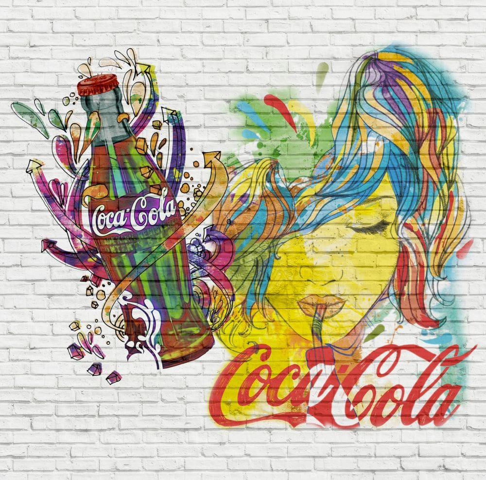 Coca Cola Coke Bottles White Mural - Product code: 41271
