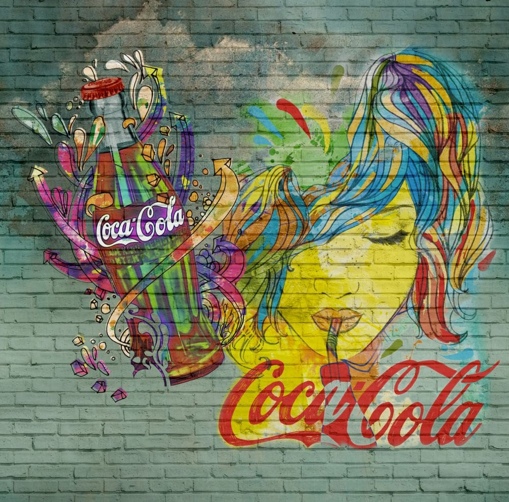 Coke Bottles Mural - Aged Green - by Coca Cola
