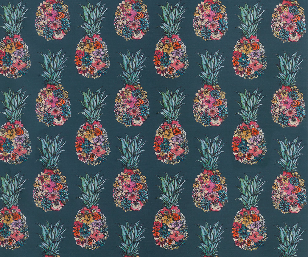 Matthew Williamson Ananas Dark Teal/ Scarlet/ Jade Fabric - Product code: F7245-03