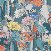 Matthew Williamson Cactus Garden Teal/ Orange Fabric - Product code: F7247-01
