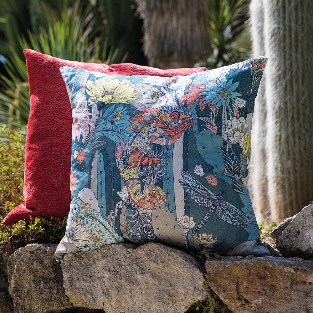 Cactus Garden Fabric - Teal/ Orange - by Matthew Williamson