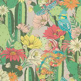 Matthew Williamson Cactus Garden Green/ Orange Fabric - Product code: F7247-03