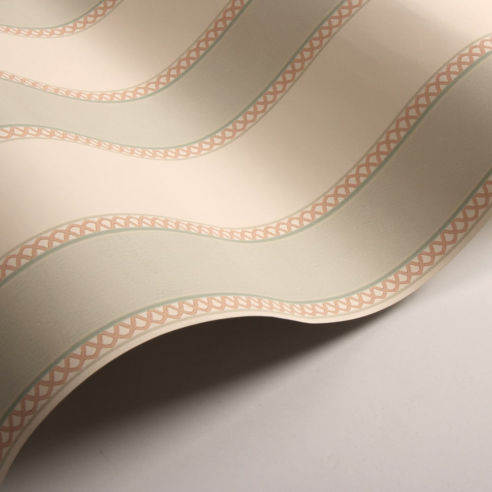 Chartworth Stripe Wallpaper - Aqua and Pink - by Colefax and Fowler