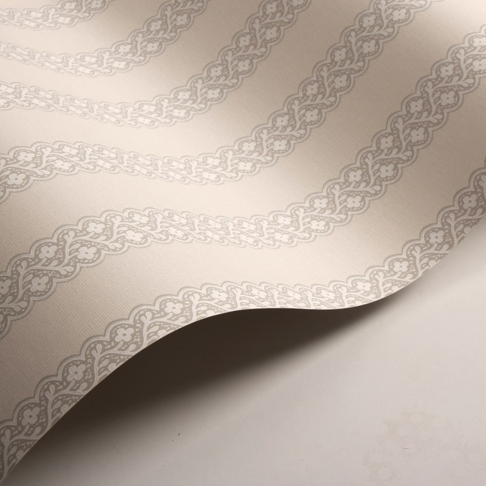 Britta Wallpaper - Silver - by Colefax and Fowler