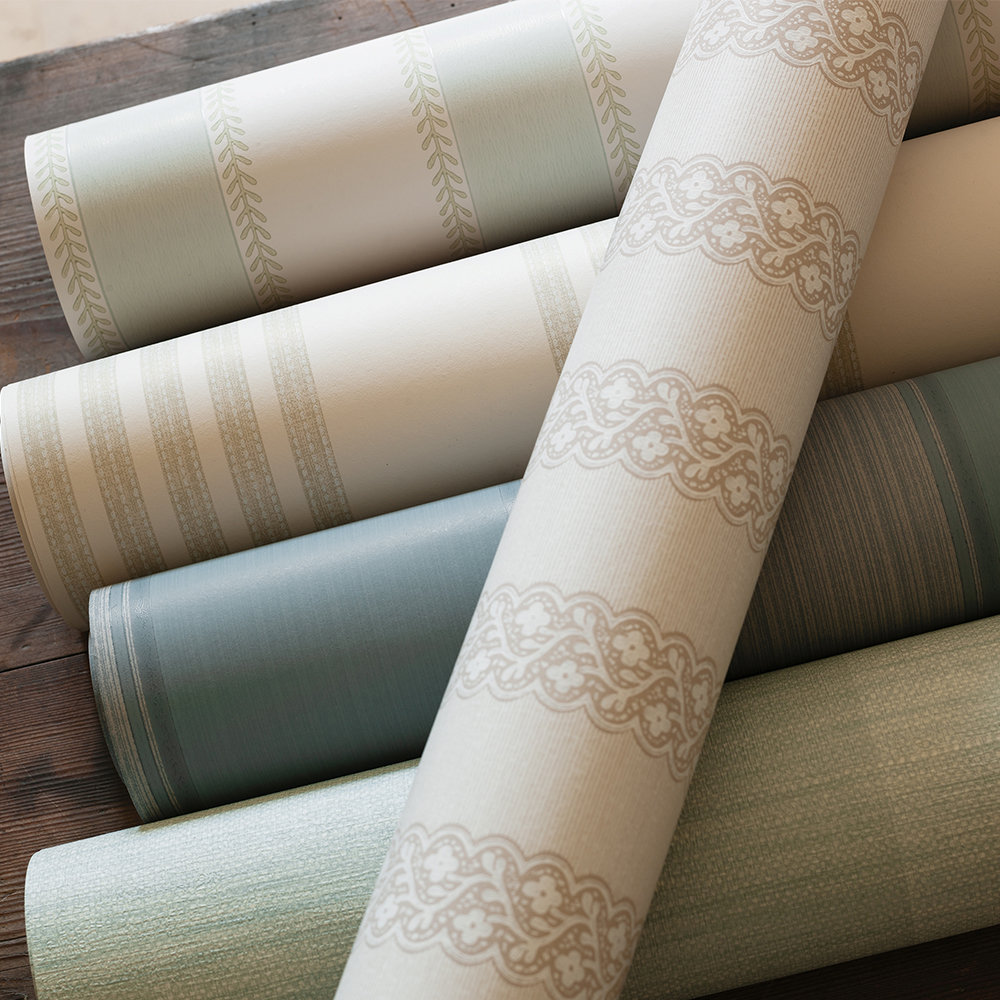 Britta Wallpaper - Beige - by Colefax and Fowler
