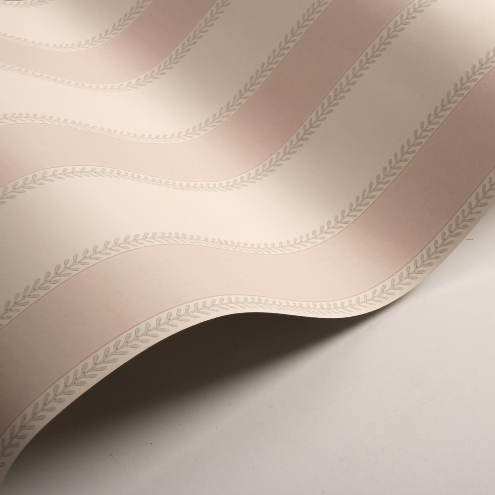 Graycott Stripe Wallpaper - Old Pink - by Colefax and Fowler