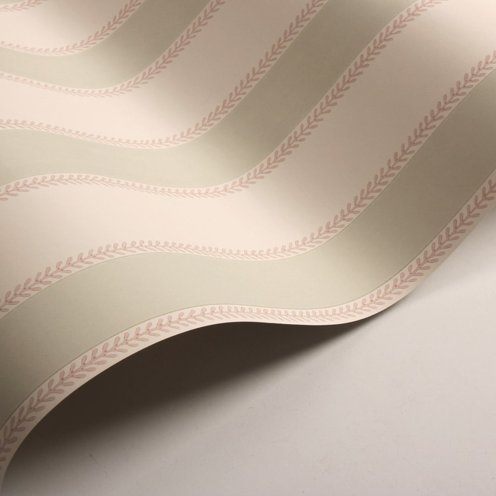 Graycott Stripe Wallpaper - Pink / Green - by Colefax and Fowler