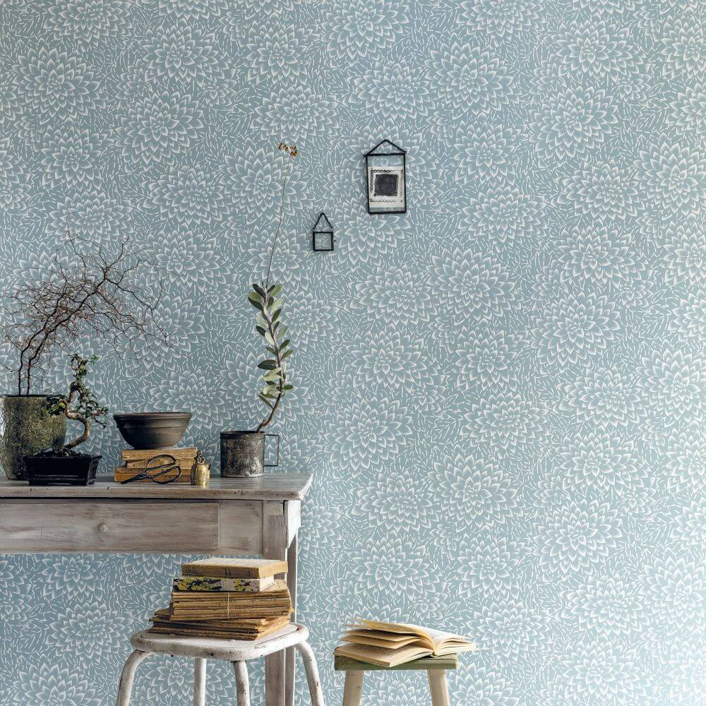 Caselio Hana Pale Blue Wallpaper extra image