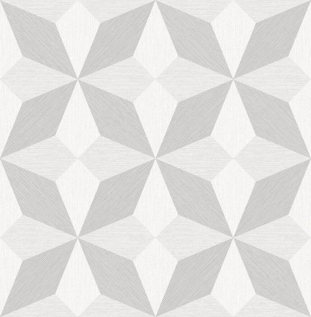 Albany Faux Grasscloth Geo White and Silver Wallpaper - Product code: CB41061