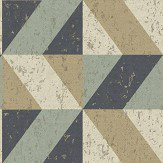 Albany Cork Triangles Blue and Gold Wallpaper