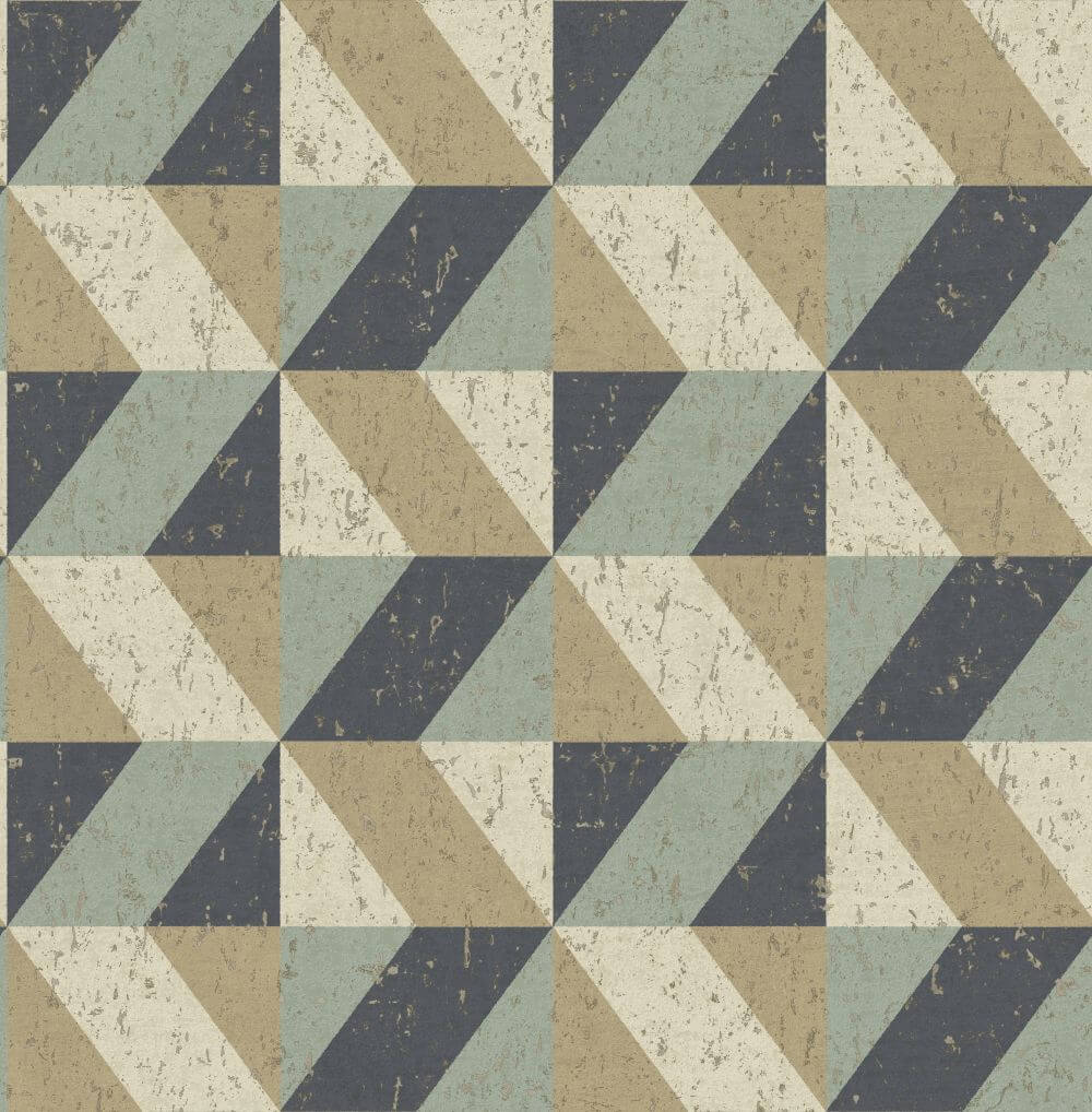 Albany Cork Triangles Blue and Gold Wallpaper - Product code: CB41070