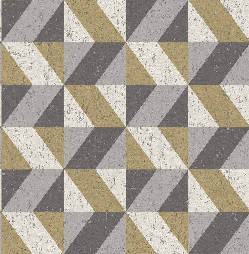Albany Cork Triangles Grey and Gold Wallpaper main image