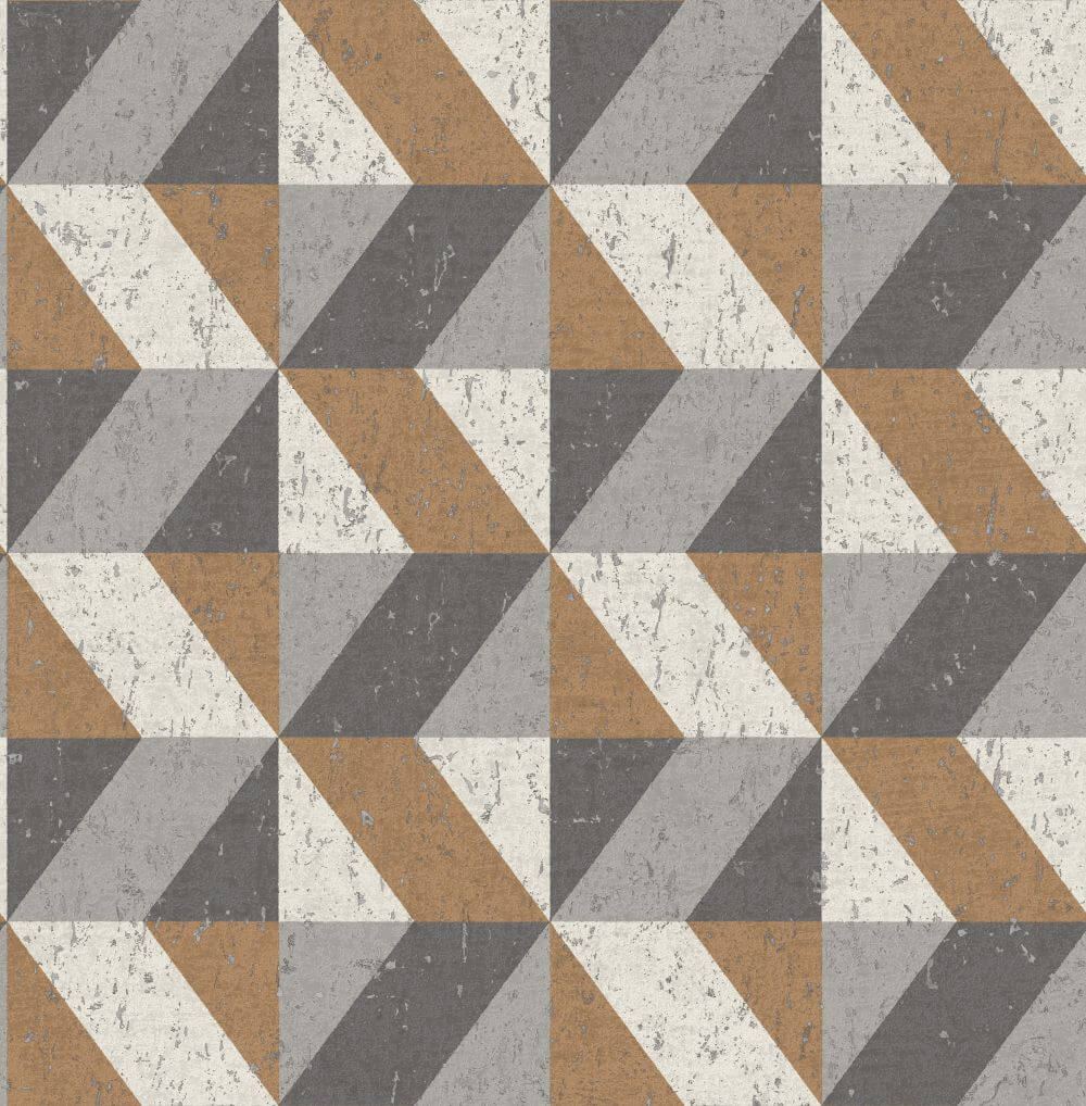 Albany Cork Triangles Copper and Grey Wallpaper main image