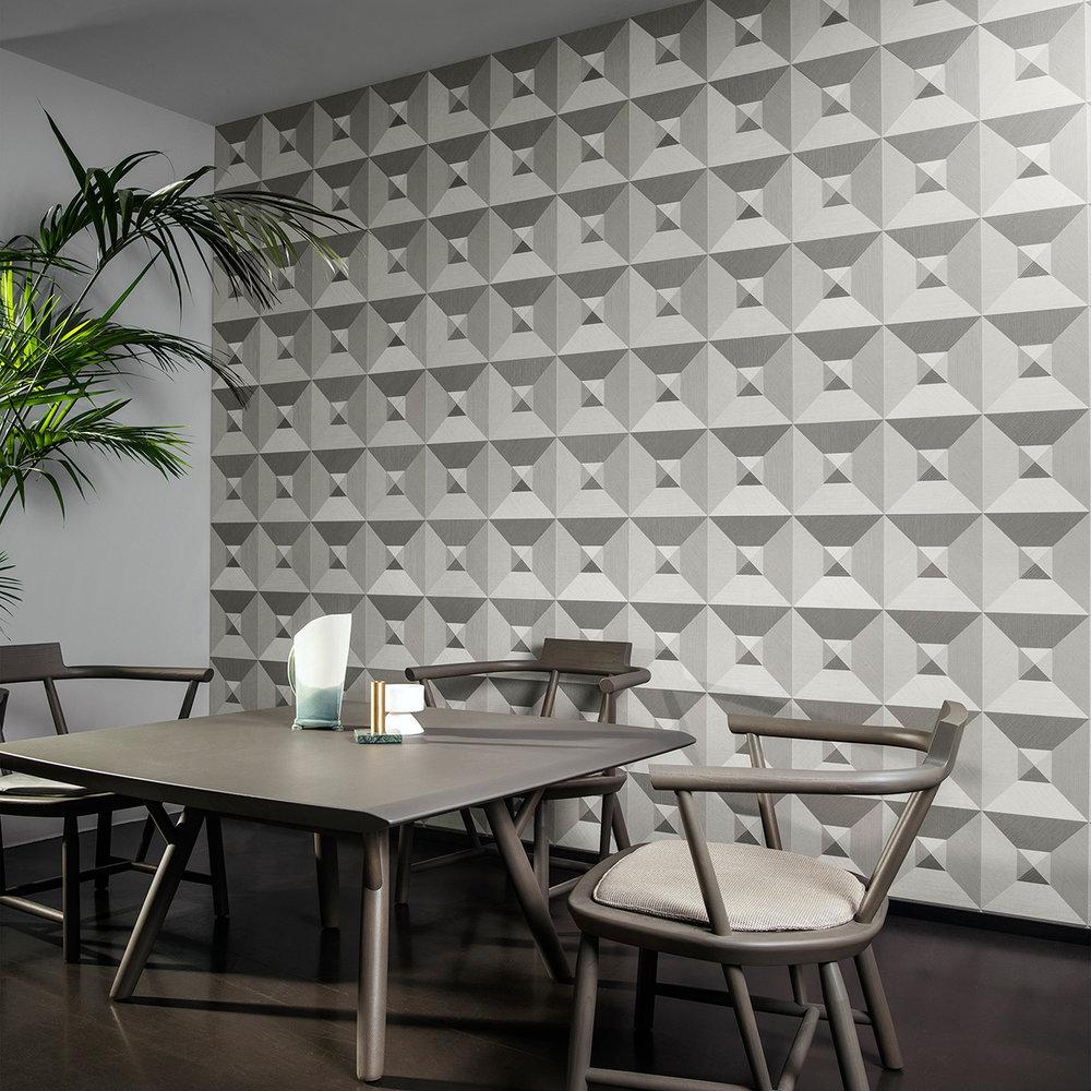Pyramid Wallpaper - Silver / Grey - by Arte