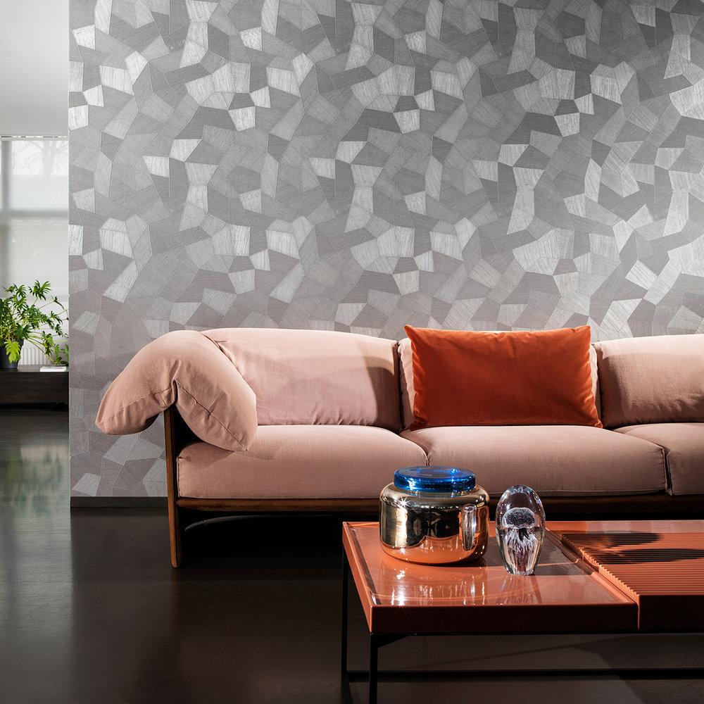 Facet Wallpaper - Steel Blue - by Arte