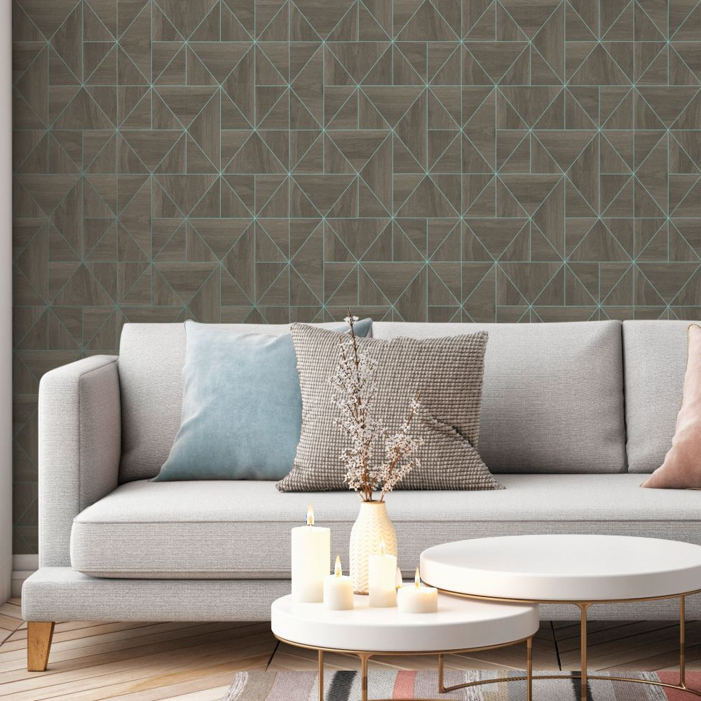 Diamond Wood Wallpaper - Grey and Blue - by Albany