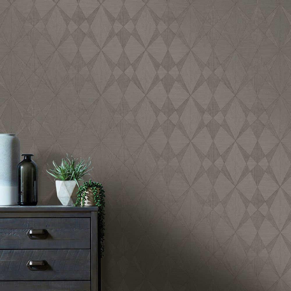 Albany Laminated Plywood Dark Grey Wallpaper - Product code: CB41094