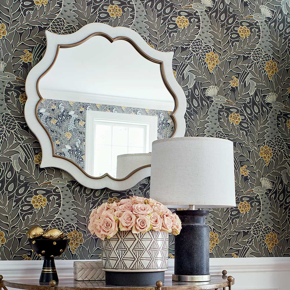 Desmond Wallpaper - Black - by Thibaut