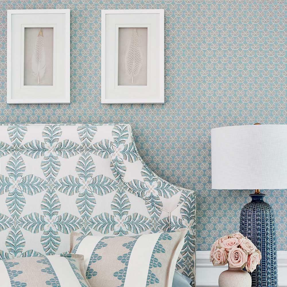Parada Wallpaper - Aqua - by Thibaut