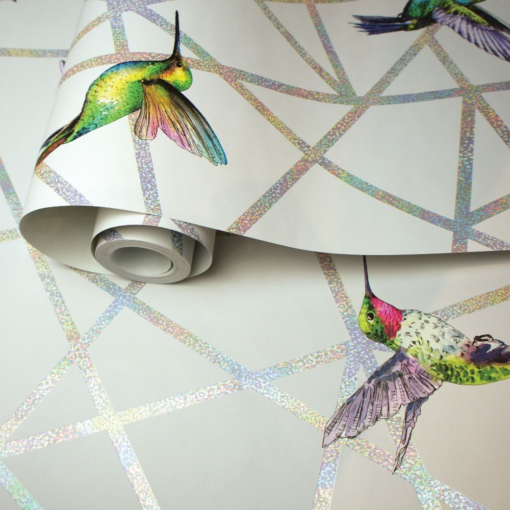 Hummingbirds Wallpaper - Grey - by Albany