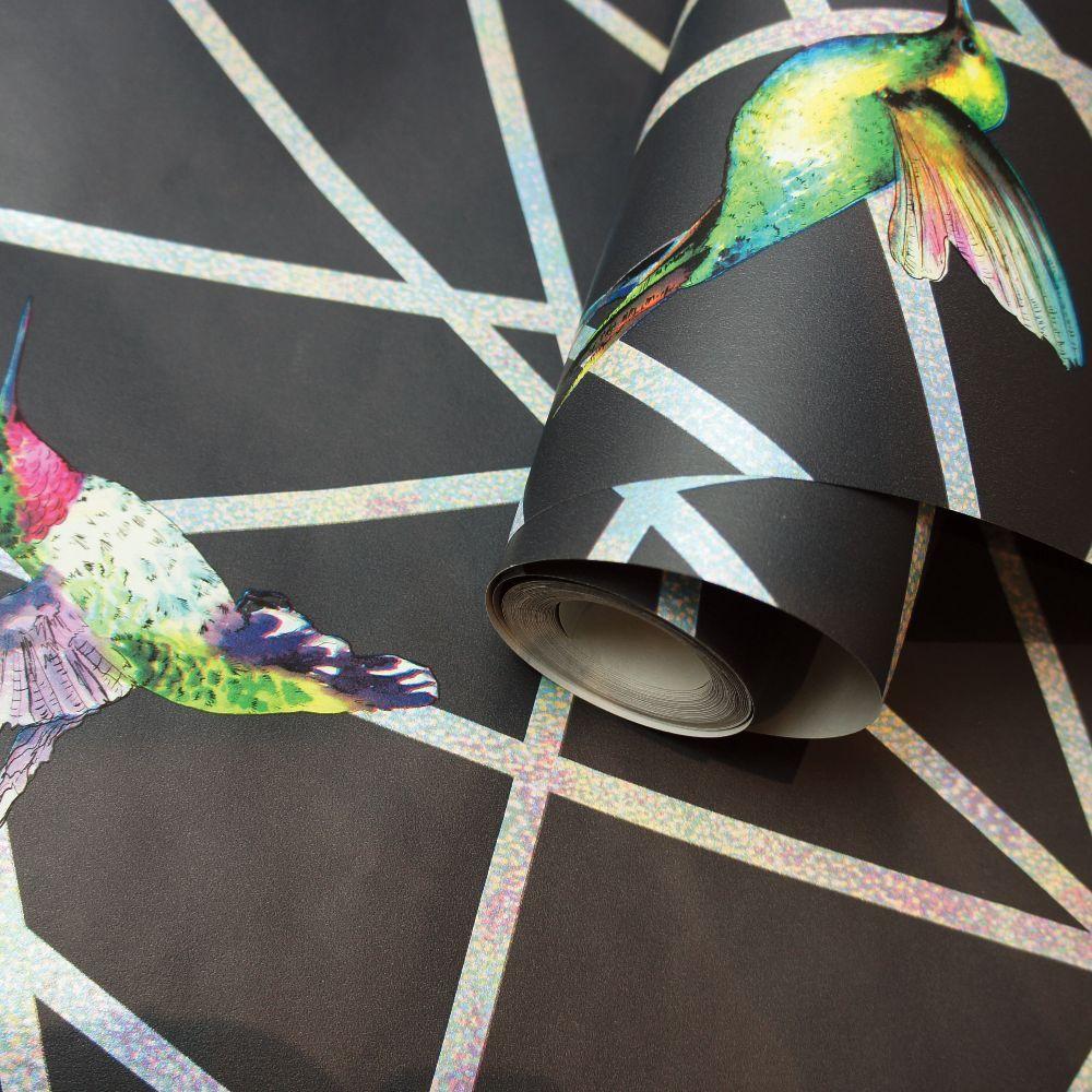 Hummingbirds Wallpaper - Black - by Albany
