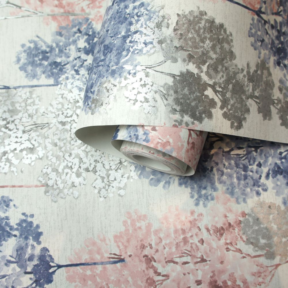 Albany Whinfell Navy & Coral Wallpaper - Product code: 90381