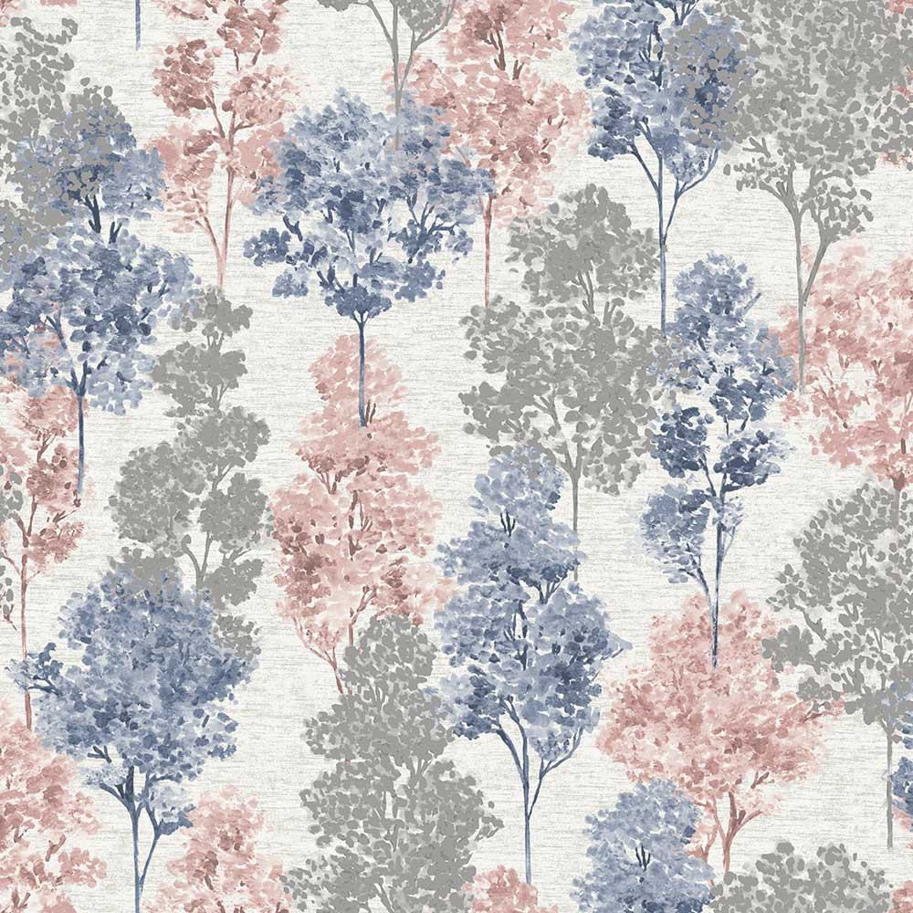 Albany Whinfell Navy & Coral Wallpaper main image