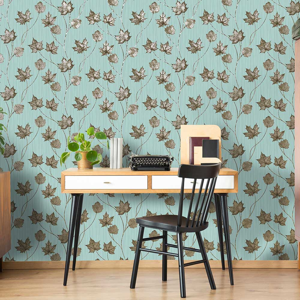 Maple Wallpaper - Teal - by Albany
