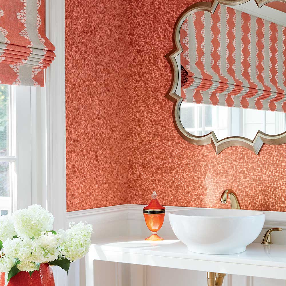 Turini Dots Wallpaper - Orange - by Thibaut