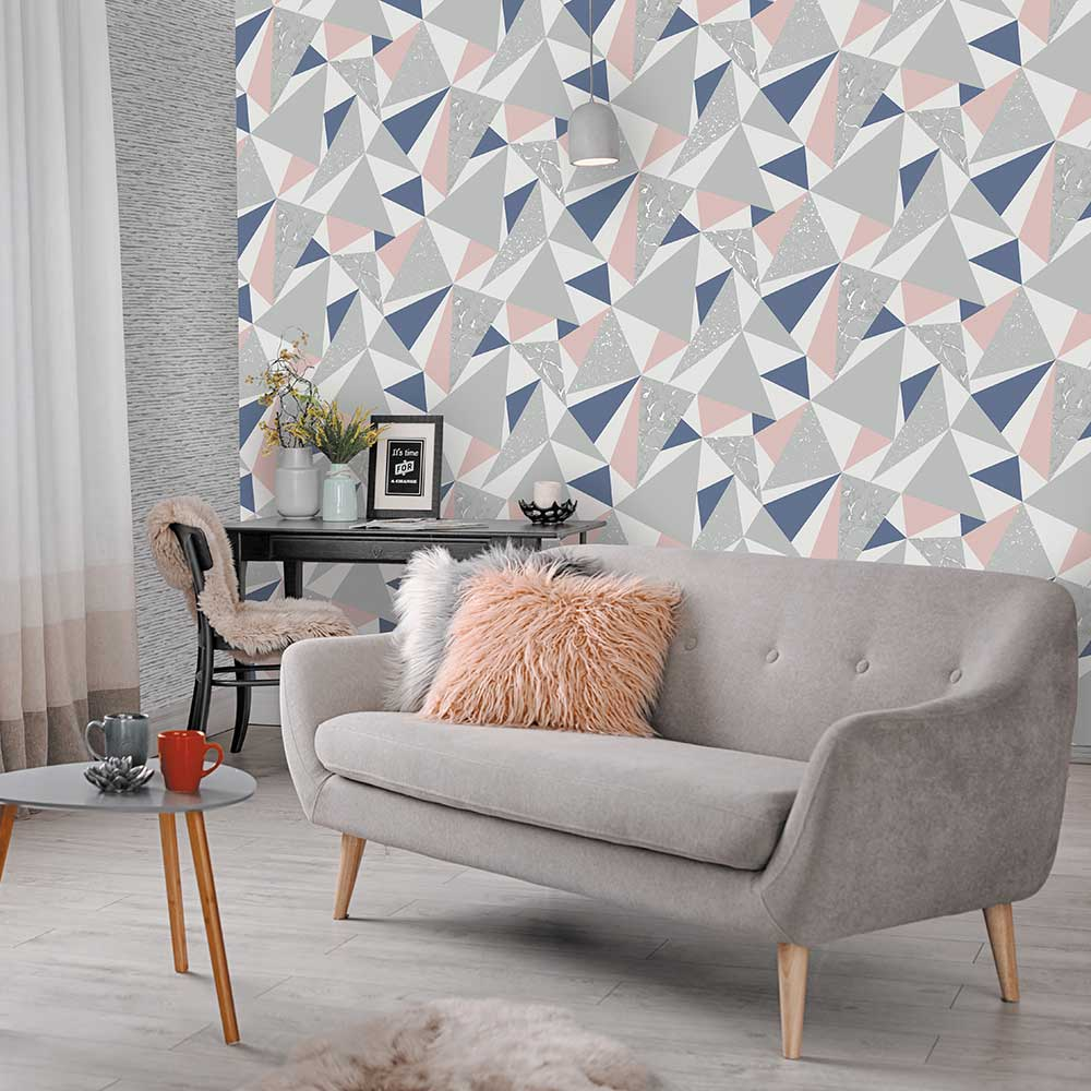 Glacier Wallpaper - Navy and Coral - by Albany