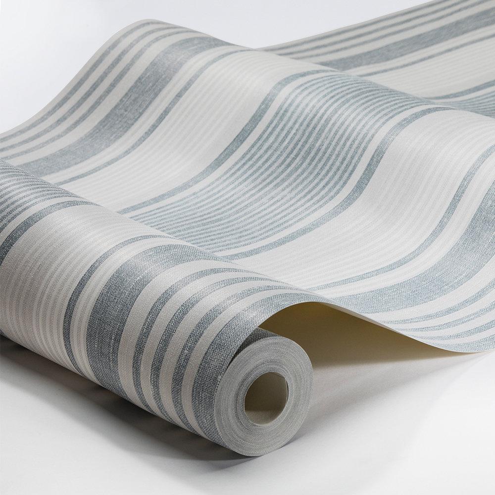 Linen Stripe Wallpaper - Blue, Grey and White - by Boråstapeter
