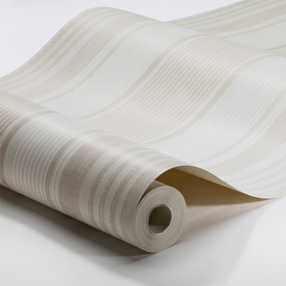 Boråstapeter Linen Stripe Beige and Ivory Wallpaper - Product code: 6861