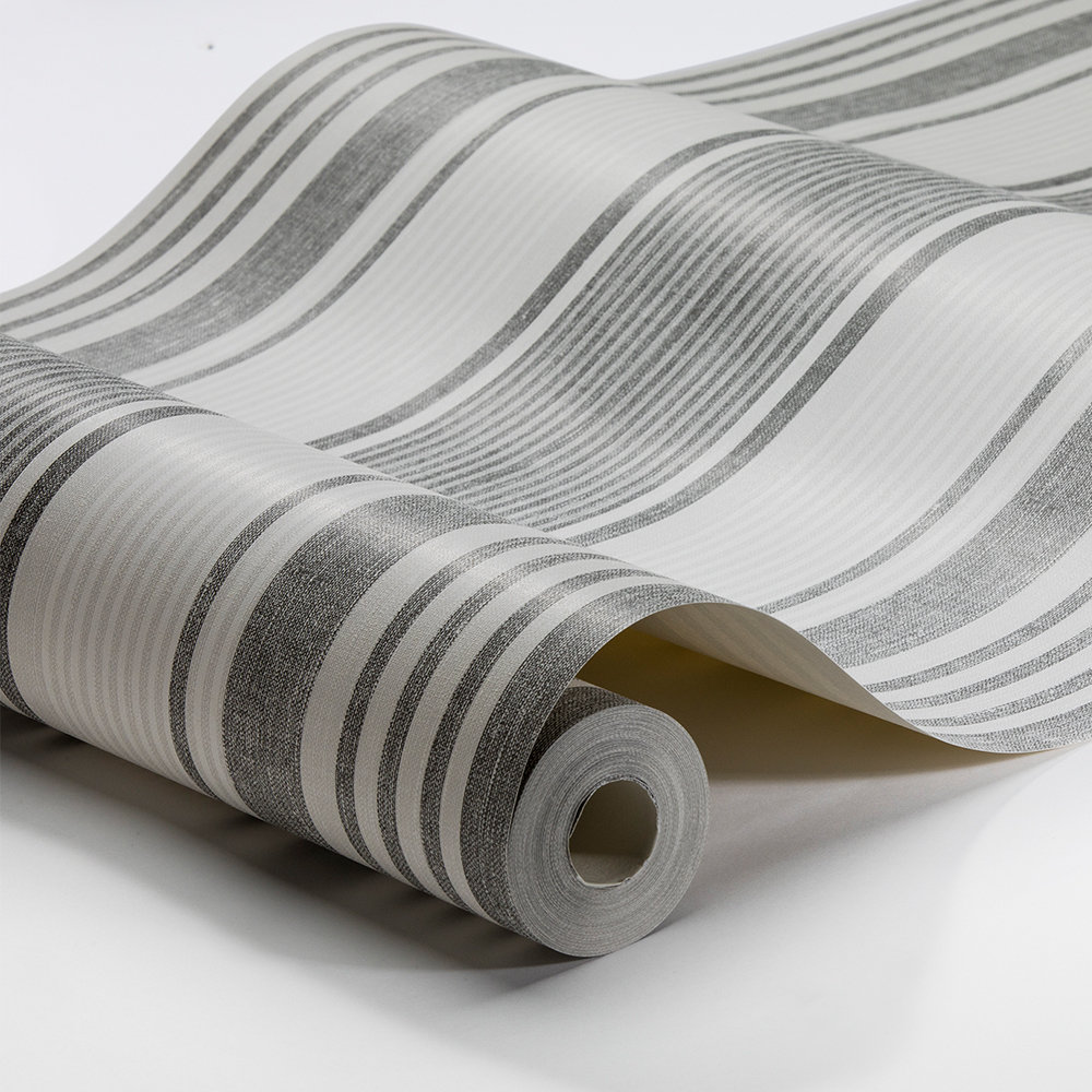 Boråstapeter Linen Stripe Grey and Ivory Wallpaper - Product code: 6862