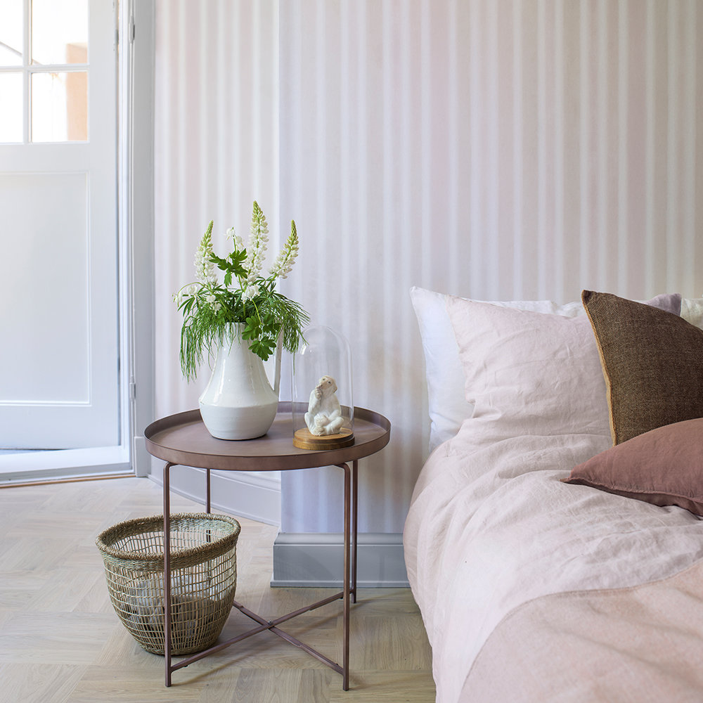 Boråstapeter Watercolour Stripe White, Beige and Powder Pink Wallpaper - Product code: 6867