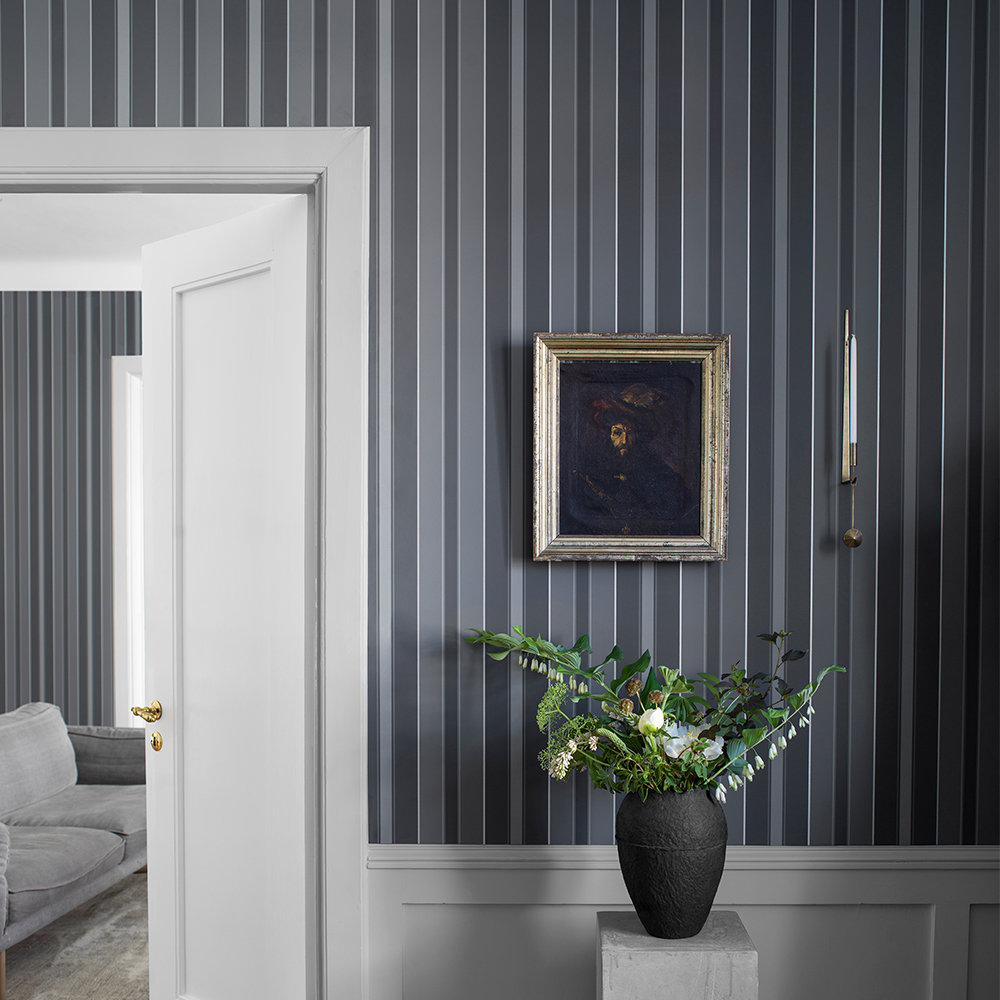 Boråstapeter Stockholm Stripe Black and Grey Wallpaper - Product code: 6875
